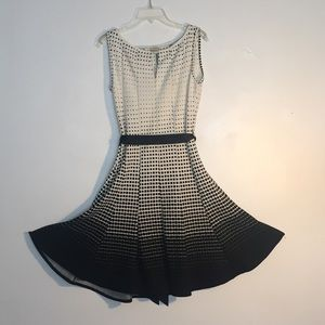 Black and White Graduated Haani Dress with Belt